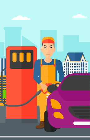 filling: A man filling up fuel into the car on a city background vector flat design illustration. Vertical layout.