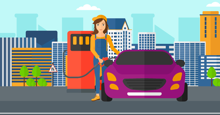 filling: A woman filling up fuel into the car on a city background vector flat design illustration. Horizontal layout.