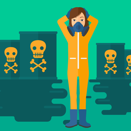 harm: A woman in protective chemical suit clutching her head while standing in polluted water with radioactive barrel vector flat design illustration. Square layout.