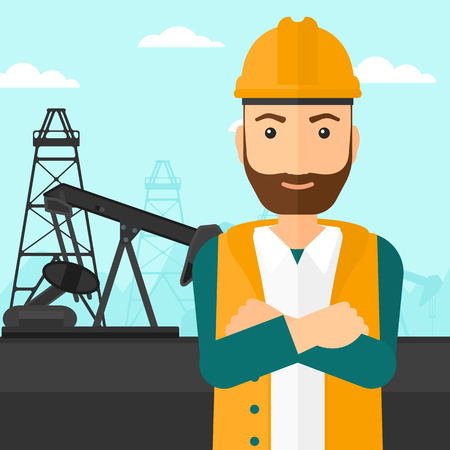 crossed arms: A hipster man in helmet standing with crossed arms on an oil derrick background vector flat design illustration. Square layout.