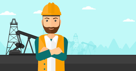 crossed arms: A hipster man in helmet standing with crossed arms on an oil derrick background vector flat design illustration. Horizontal layout.