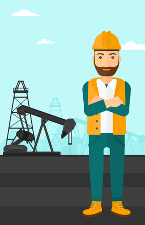 crossed arms: A hipster man in helmet standing with crossed arms on an oil derrick background vector flat design illustration. Vertical layout.