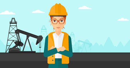 oil industry: A woman in helmet standing with crossed arms on an oil derrick background vector flat design illustration. Horizontal layout.