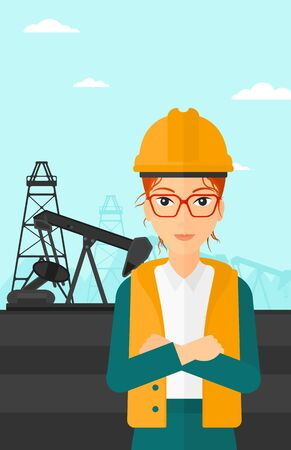 exhaustion: A woman in helmet standing with crossed arms on an oil derrick background vector flat design illustration. Vertical layout.