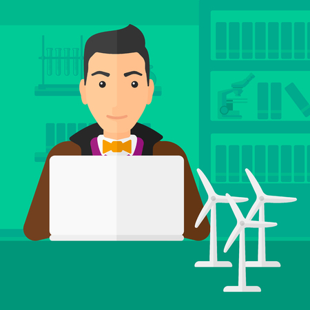 A man sitting at the table with a laptop and wind turbine models vector flat design illustration. Square layout.