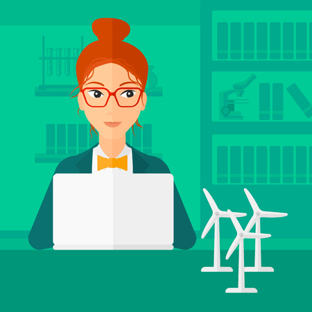 A woman sitting at the table with a laptop and wind turbine models vector flat design illustration. Square layout.