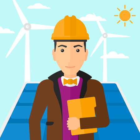 e book device: A man standing with a laptop in hand on a background with solar pannels and wind turbins vector flat design illustration. Square layout.