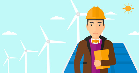 cartoon wind: A man standing with a laptop in hand on a background with solar pannels and wind turbins vector flat design illustration. Horizontal layout.