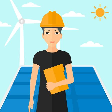sun background: A woman standing with a laptop in hand on a background with solar pannels and wind turbins vector flat design illustration. Square layout.