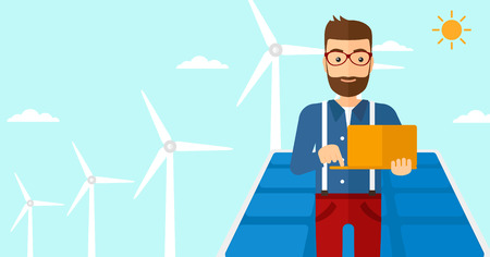 cartoon wind: A hipster man with the beard holding a laptop in hands on a background with solar pannels and wind turbins vector flat design illustration. Horizontal layout. Illustration