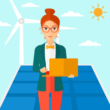 A woman holding a laptop in hands on a background with solar pannels and wind turbins vector flat design illustration. Square layout.