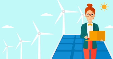 cartoon wind: A woman holding a laptop in hands on a background with solar pannels and wind turbins vector flat design illustration. Horizontal layout.