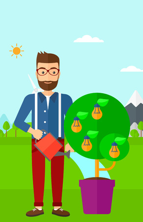 A hipster man with the beard standing on a background with mountain and watering a tree growing in pot with light bulbs instead flowers vector flat design illustration. Vertical layout. Illustration