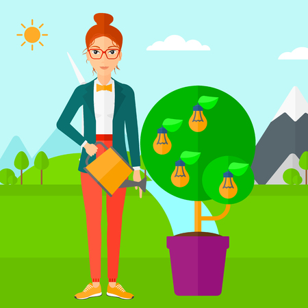 energy save: Young woman standing on a background with mountain and watering a tree growing in pot with light bulbs instead flowers vector flat design illustration. Square layout. Illustration