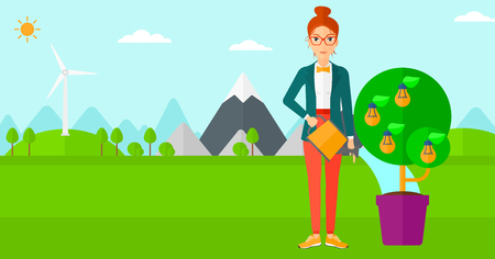 Young woman standing on a background with mountain and watering a tree growing in pot with light bulbs instead flowers vector flat design illustration. Horizontal layout.
