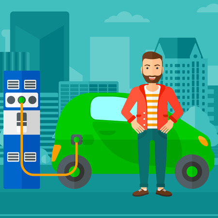 plugging: A hipster man with the beard charging his electric car on a city background vector flat design illustration. Square layout. Illustration