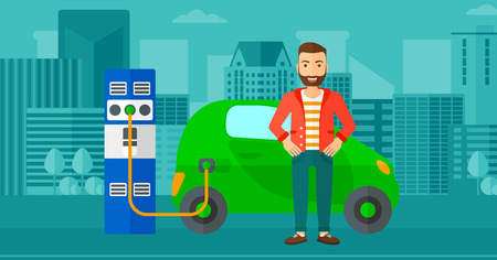 plugging: A hipster man with the beard charging his electric car on a city background vector flat design illustration. Horizontal layout.