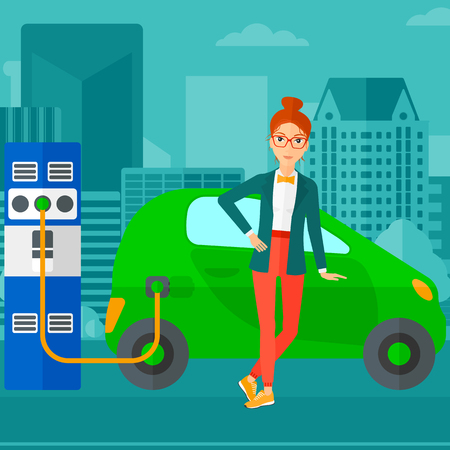 plugging: A woman charging her electric car on a city background vector flat design illustration. Square layout.