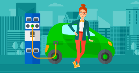 plugging: A woman charging her electric car on a city background vector flat design illustration. Horizontal layout.