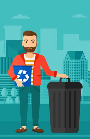 A hipster man with the beard standing with a recycle bin in hand and another bin on the ground on a city background vector flat design illustration. Vertical layout.
