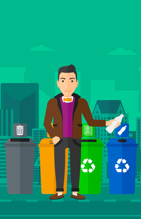 appropriate: A man standing near four bins and throwing a plastic bottle in an appropriate bin on a city background vector flat design illustration. Vertical layout. Illustration