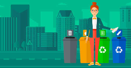 Young woman standing near four bins and throwing a plastic bottle in an appropriate bin on a city background vector flat design illustration. Horizontal layout. 向量圖像