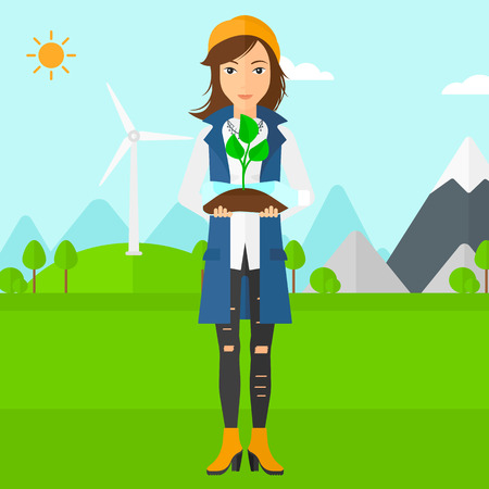 small plant: A woman standing on a background with wind turbins and holding in hands a plastic bottle with a small plant growing inside vector flat design illustration. Square layout. Illustration