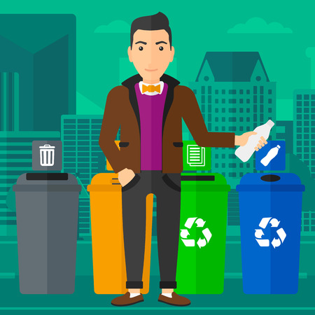 A man standing near four bins and throwing a plastic bottle in an appropriate bin on a city background vector flat design illustration. Square layout. 向量圖像