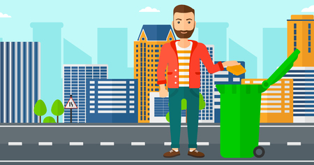 trees illustration: A hipster man with the beard throwing a trash into a green bin on a city background vector flat design illustration. Horizontal layout.