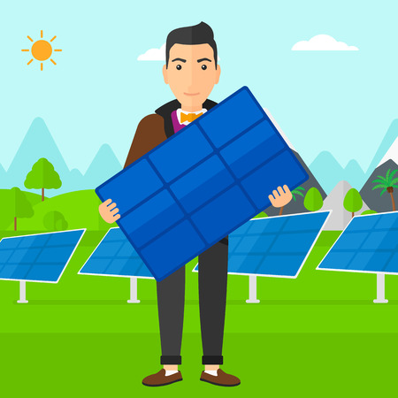 sun background: A man holding a solar panel in hands on a background with solar panels vector flat design illustration. Square layout.