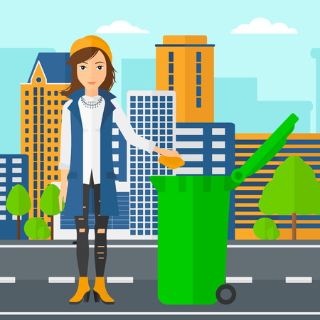 woman throwing: A woman throwing a trash into a green bin on a city background vector flat design illustration. Square layout.