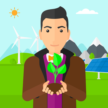 small plant: Man holding in hands a small plant in soil on a background with solar pannels and wind turbins vector flat design illustration. Square layout.