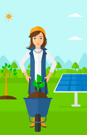 planted: A woman standing with a plant and soil in a wheelbarrow on a background with newly planted trees and solar panels vector flat design illustration. Vertical layout.