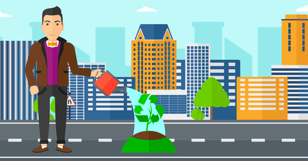 biologic: A man watering a tree with a recycle sign instead of crown on a city backround vector flat design illustration. Horizontal layout.