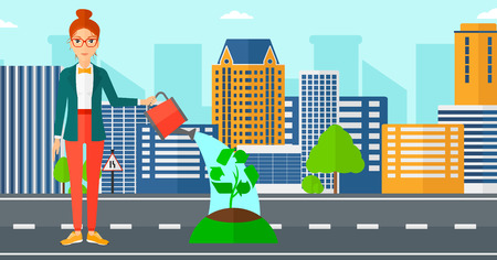 A woman watering a tree with a recycle sign instead of crown on a city backround vector flat design illustration. Horizontal layout.