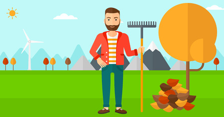 A hipster man with rake standing near tree and heap of autumn leaves vector flat design illustration. Horizontal layout. Ilustração