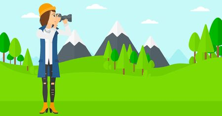 taking photo: A woman taking photo on the background of green forest and mountains vector flat design illustration. Horizontal layout. Illustration