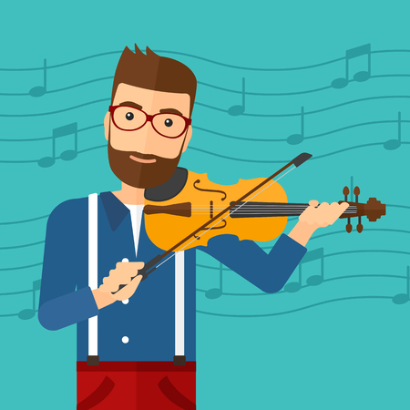 A hipster man with the beard  playing violin on a blue background with music notes vector flat design illustration. Square layout. Ilustrace