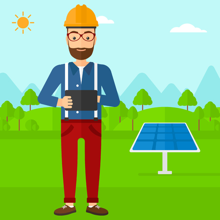 using tablet: A hipster man with the beard in hardhat holding a tablet computer in hands on a background with solar pannels vector flat design illustration. Square layout.