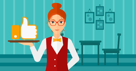 like button: A waitress carrying a tray with like button on a cafe background vector flat design illustration. Horizontal layout.