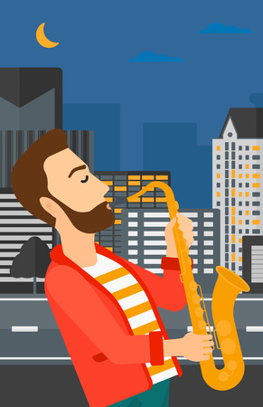 soloist: A hipster man with the beard playing saxophone on a night city background vector flat design illustration. Vertical layout.