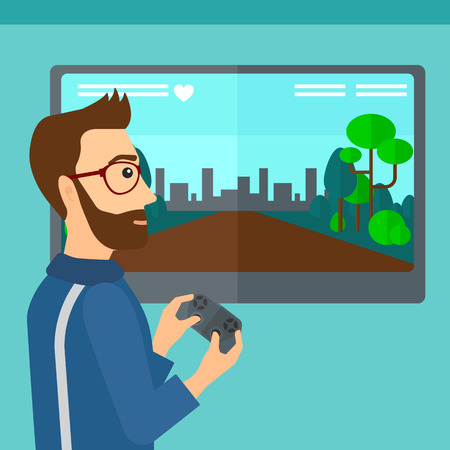 playing video game: A hipster man with the beard playing video game with gamepad in hands vector flat design illustration. Square layout.