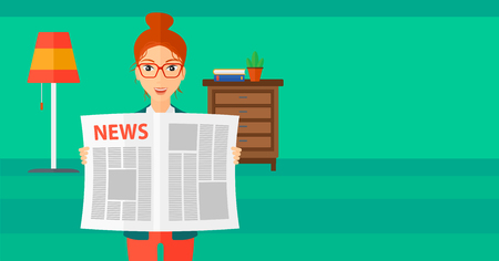 article: A happy reporter reading the newspaper with her article on the backround of room vector flat design illustration. Horizontal layout.