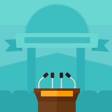 briefing: Background of tribune speech with microphones vector flat design illustration. Square layout. Illustration