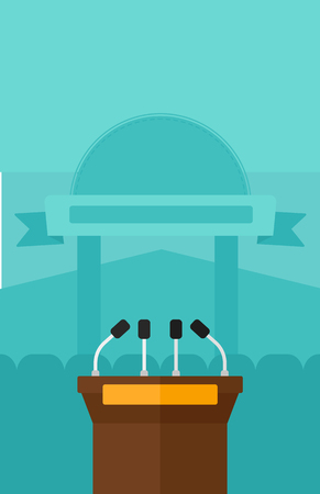 briefing: Background of tribune speech with microphones vector flat design illustration. Vertical layout.