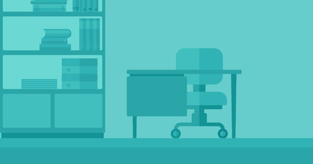 Background of business office with table, chair and bookcases vector flat design illustration. Horizontal layout. Illusztráció