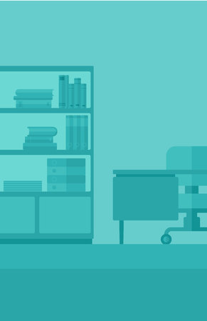 empty office: Background of business office with table, chair and bookcases vector flat design illustration. Vertical layout. Illustration