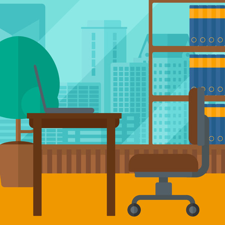 cartoon window: Background of panoramic modern office with city view vector flat design illustration. Square layout.