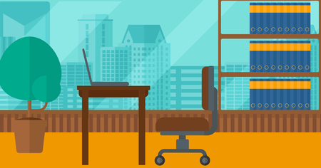 chair cartoon: Background of panoramic modern office with city view vector flat design illustration. Horizontal layout.