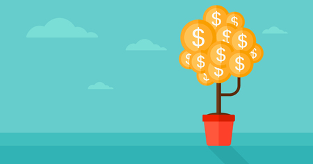 cartoon trees: Background of money tree with dollar coins instead of leaves vector flat design illustration. Horizontal layout.
